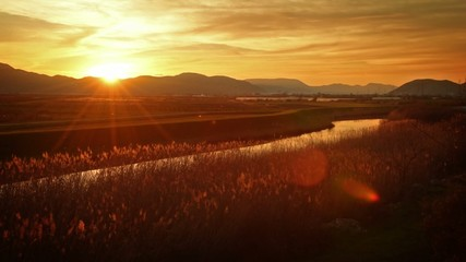 Beautiful agricultural landscape with river channel at sunset