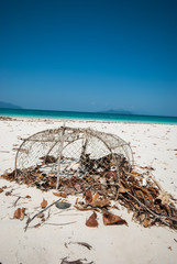 Crab trap on the beach