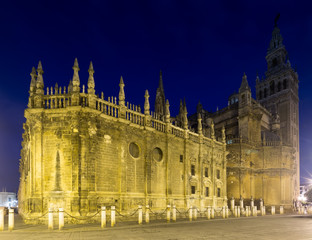 Evening  view of  Cathedral of Seville