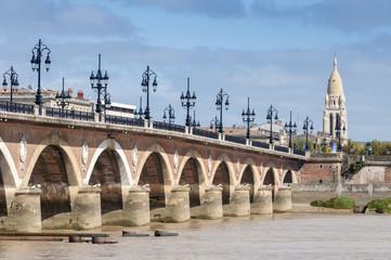 Pont De Pierre Bridge across Garonne River, Bordeaux