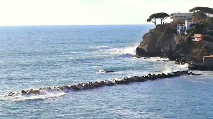 stormy sea to Silence bay, Sestri Levante