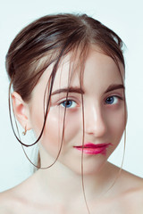 Beauty portrait of young girl. Morning gentle way, the effect of