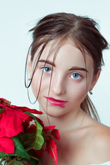 Beauty portrait of young girl. Morning image with the effect of