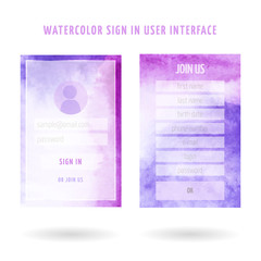 user interface watercolor set