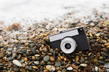 The camera on the beach