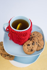 Blue cup with red knitted cover and cookies with chocolate