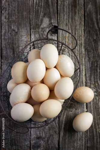 Poster eggs in a metal basket