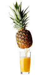Juice pouring from pineapple