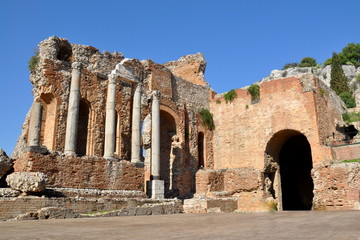 Italie, Sicile, Taormina, Théâtre grec et romain