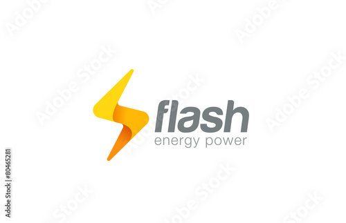 Lighting bolt Flash Logo design vector. Fast Quick icon - 80465281