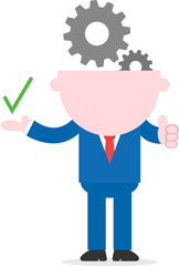 Businessman with gears inside head showing check mark