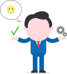 Happy businessman showing check mark and small gears