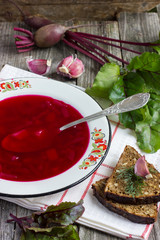 Russian and ukrainian national red soup borsch