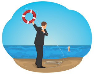 Businessman throwing life buoy to save man in the sea of crisis