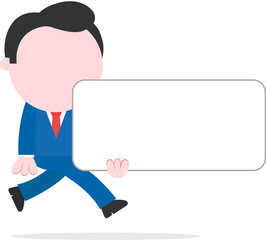 Businessman running and holding blank banner