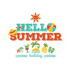Hello summer holiday - freehand drawing vector illustration