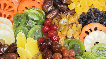 Group of dried fruits background