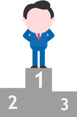 Businessman standing on first place podium