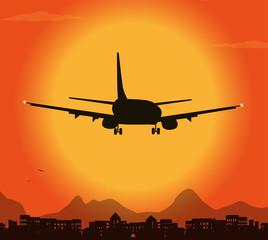 decollo d'aereo al tramonto