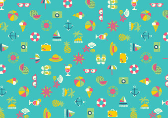 Summer Icon wallpaper - freehand drawing vector illustration