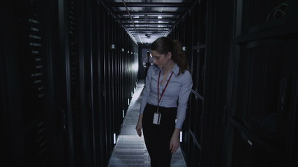 IT engineers working in a data centre