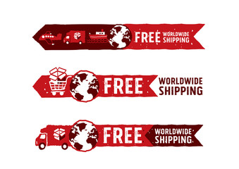 Worldwide shipping logos and signs with globe icon