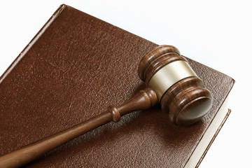 Gavel on leather book