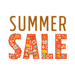 summer sale - freehand drawing vector