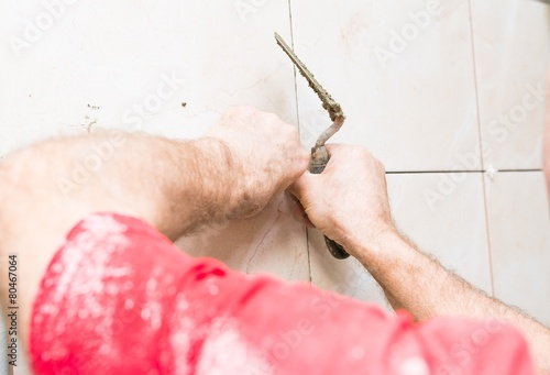 Poster construction mason man hands