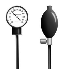 Illustration of sphygmomanometer isolated on white