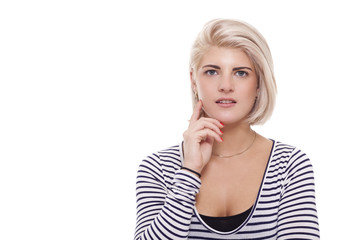 Smiling Pretty Blond Woman in Casual Stripe Shirt