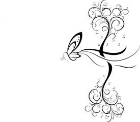 Fantasia con farfalla e albero musicale riflesso