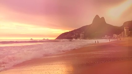 Rio de Janeiro Brazil Ipanema Beach Slow Motion Waves