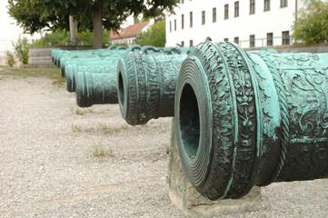 Antique ornamented cannon barrels