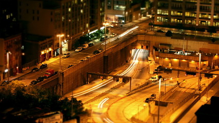 Time lapse of traffic passing through the streets of New York at night