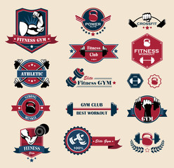 Cross fit, Fitness and Sport Vector Labels