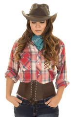 cowgirl red plaid shirt front look down