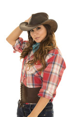 cowgirl red plaid shirt serious side look
