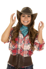 cowgirl red plaid shirt happy