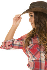 cowgirl red plaid shirt side touch hat