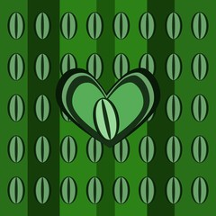 Abstract background with green coffee beans and heart