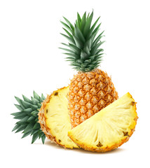 Pineapple behind and pieces isolated on white background
