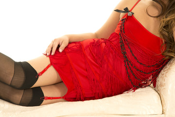 woman in red flapper outfit body