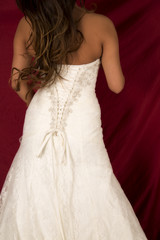 woman in wedding dress back body