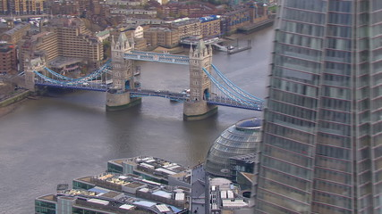 Aerial view of the iconic landmark that is Tower Bridge in London