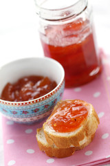 Breakfast: bread with plum jam