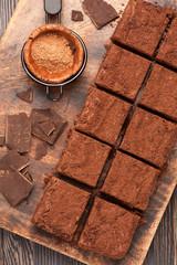 chocolate brownies. top view.