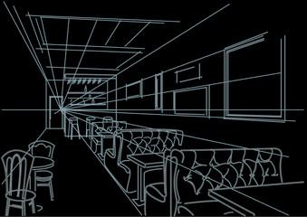 linear interior sketch of cafe on black background