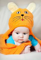 Cute baby boy in funny towel