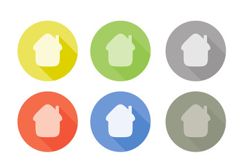 Collection of home symbol rounded icon with shadow different